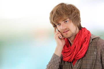 man handsome gay calling phone