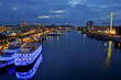 Leinwanddruck Bild - Kiel bei Nacht Kieler Woche