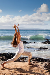 Yoga Warrior I Pose in Maui Hawaii