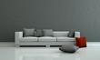Wohndesign - Sofa mit rotem Kissen