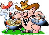 Pig standing and making BBQ