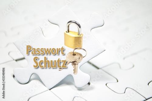 Puzzle mit Schloss und Passwort Schutz