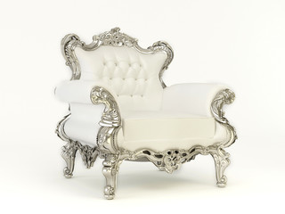 Luxurious  armchair with silver frame  on the white background