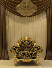 Royal armchair with curtain in luxury interior