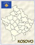 Kosovo political division national emblem flag map poster