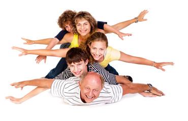 Cheerful family having fun in the studio