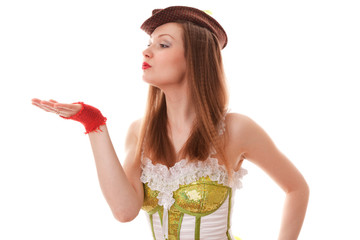 Cabaret girl in top hat on white background