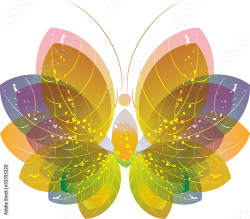 Colorful abstract butterfly over white, vector eps10