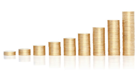 Stacks of golden coins in growing chart.