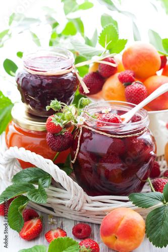 Various jams  in jars