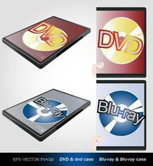 eps Vector image:DVD & dvd case Blu-ray & Blu-ray case