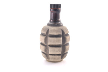 clay bottle in the form of grenades without handle