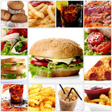 Fototapety Fast Food Collage with Cheeseburger in center