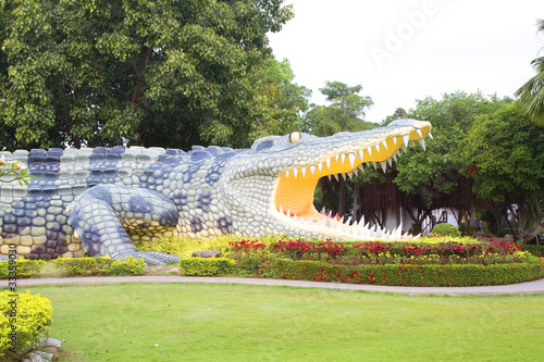 Statue big green crocodile in Phichit Province, Thailand