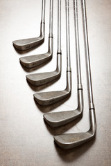 golf club on wooden background