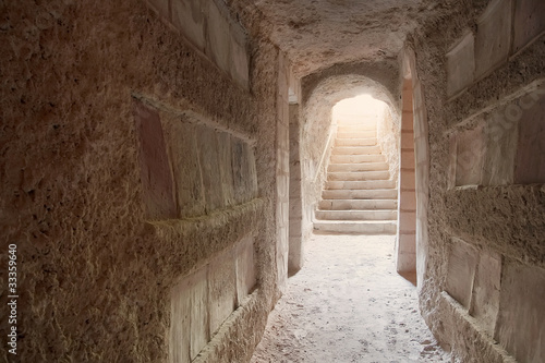 Fotobehang Tunesië Entrance to Sousse catacombs flooded with light