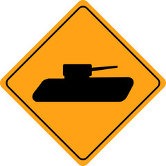 Tank crossing sign isolated
