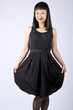 Asian Woman in Black Party Dress