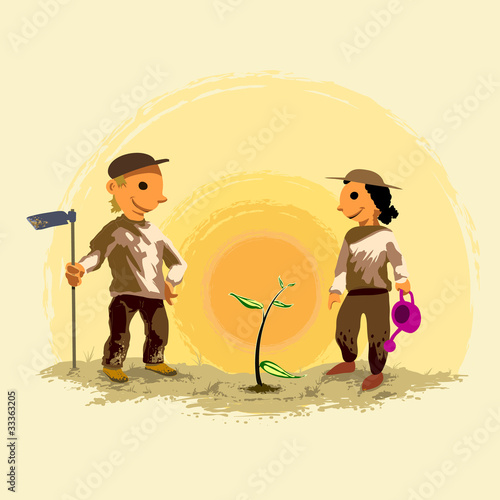 illustration of two kids planting a tree