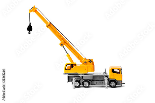 toy truck crane isolated over white backgroung - 33363266