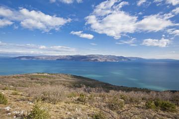 Panoramic view of Cres island in Croatia