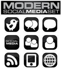 Social Media Icon Set Black