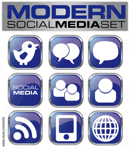 Social Network Icon Set Blue