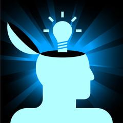 human head with lamp