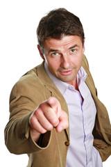 Business Mann zeigt mit Finger