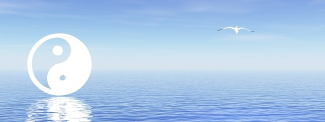 Yin and yang on blue ocean