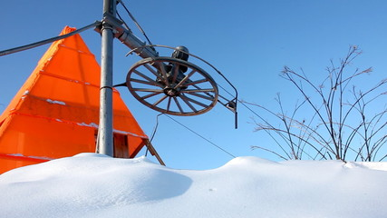 Elevator for ski on winter snow mountain