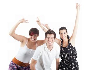 tres jóvenes victoriosos