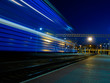 blue speeding train blur