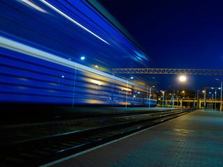 blue speeding train blur