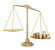Leinwandbild Motiv Gold balance. Something cheaper than money, isolated