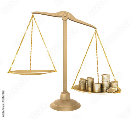 Gold balance. Something cheaper than money, isolated
