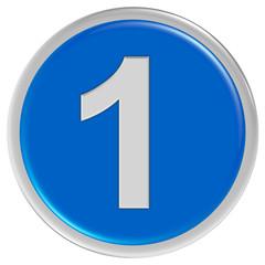 Button blau rund Rand ZAHL 1