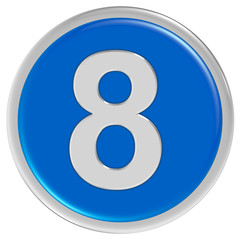 Button blau rund Rand ZAHL 8