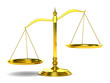 canvas print picture - Scales justice on white background. Isolated 3D image