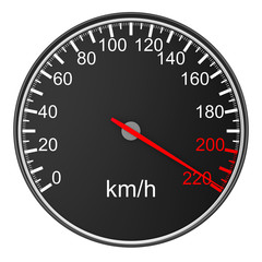 speedometer on white background. 3D image