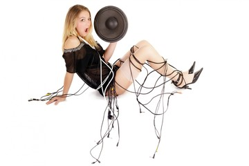 audio woman with cables and speaker