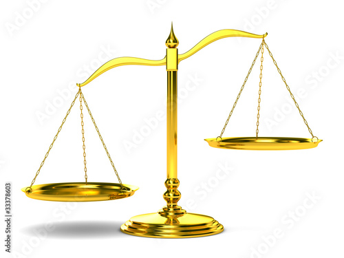 Scales justice on white background. Isolated 3D image - 33378603