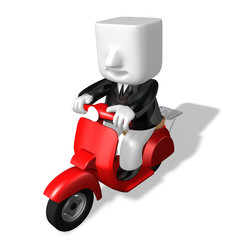 3d business man going with motor scooter