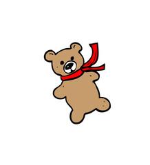 teddy in scarf cartoon