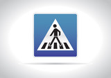 Zebra crossing, pedestrian cross warning traffic sign icon