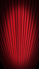 Red curtain in forced perspective