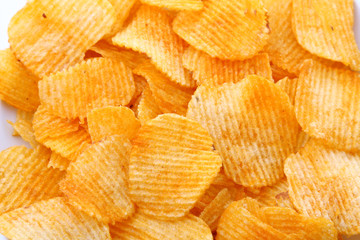 Corrugated potato chips background