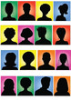 Anonymous  mugshots on colorful background