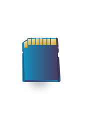 Memory card-is blue on a white background
