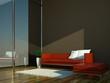 Wohndesign - rotes Sofa vor Fenster